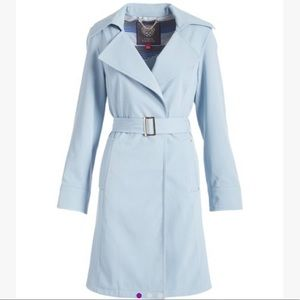 Vince Camuto Dusty Blue Belted Rain Coat